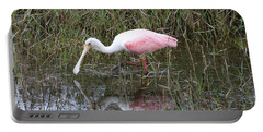 Roseate Spoonbill Reflection Portable Battery Charger by Carol Groenen