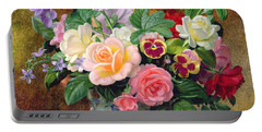 Roses Pansies And Other Flowers In A Vase Portable Battery Charger by Albert Williams