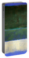 Rothko's No. 14 -- White And Greens In Blue Portable Battery Charger by Cora Wandel