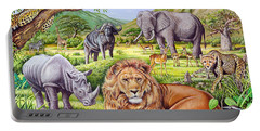 Saharan Animal Gathering Portable Battery Charger by Mark Gregory