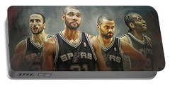San Antonio Spurs Artwork Portable Battery Charger by Sheraz A