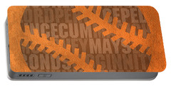 San Francisco Giants Baseball Typography Famous Player Names On Canvas Portable Battery Charger by Design Turnpike
