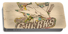 San Jose Sharks Vintage Poster Portable Battery Charger by Florian Rodarte