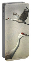 Sandhill Cranes Portable Battery Charger by James W Johnson