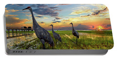 Sandhill Sunset Portable Battery Charger by Debra and Dave Vanderlaan
