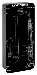 Saxophone Patent Black And White Portable Battery Charger by Dan Sproul