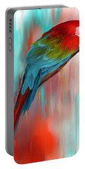 Scarlet- Red And Turquoise Art Portable Battery Charger by Lourry Legarde