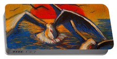 Seagulls At Sunset Portable Battery Charger by Mona Edulesco