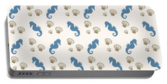 Seahorse And Shells Pattern Portable Battery Charger by Christina Rollo