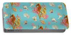 Seahorses Coral And Shells Portable Battery Charger by Kimberly McSparran