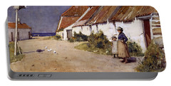 Seaside Cottages With Dovecot Portable Battery Charger by Edward Arthur Walton