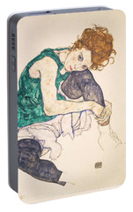 Seated Woman With Legs Drawn Up. Adele Herms Portable Battery Charger by Egon Schiele