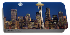 Seattle At Full Moon Portable Battery Charger by Inge Johnsson