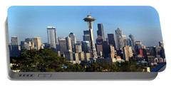 Seattle City Skyline And Downtown Portable Battery Charger by Panoramic Images