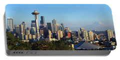Seattle City Skyline With Mt. Rainier Portable Battery Charger by Panoramic Images