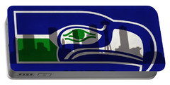 Seattle Seahawks On Seattle Skyline Portable Battery Charger by Dan Sproul