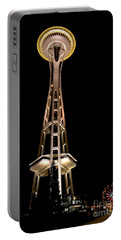 Seattle Space Needle At Night Portable Battery Charger by David Smith