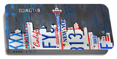 Seattle Washington Space Needle Skyline License Plate Art By Design Turnpike Portable Battery Charger by Design Turnpike