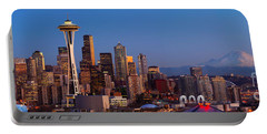 Seattle Winter Evening Panorama Portable Battery Charger by Inge Johnsson