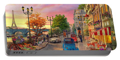 Seine Sunset Portable Battery Charger by Dominic Davison