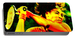 Serena Williams In A Zone Portable Battery Charger by Brian Reaves