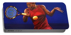 Serena Williams Painting Portable Battery Charger by Paul Meijering