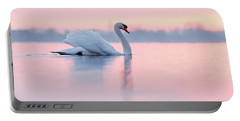 Serenity   Mute Swan At Sunset Portable Battery Charger by Roeselien Raimond