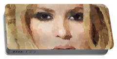 Shakira Portrait Portable Battery Charger by Samuel Majcen