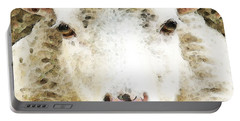 Sheep Art - White Sheep Portable Battery Charger by Sharon Cummings