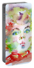 Shirley Temple - Watercolor Portrait.2 Portable Battery Charger by Fabrizio Cassetta