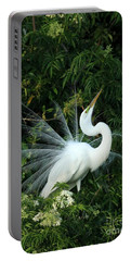 Showy Great White Egret Portable Battery Charger by Sabrina L Ryan