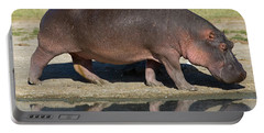 Side Profile Of A Hippopotamus Walking Portable Battery Charger by Panoramic Images