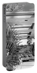 Sinatra Patio Bw Palm Springs Portable Battery Charger by William Dey