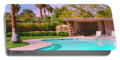 Sinatra Pool Cabana Palm Springs Portable Battery Charger by William Dey