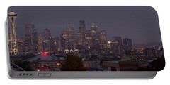 Skylines At Dusk, Seattle, King County Portable Battery Charger by Panoramic Images