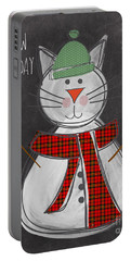 Snow Kitten Portable Battery Charger by Linda Woods