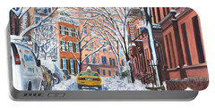 Snow West Village New York City Portable Battery Charger by Anthony Butera