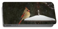 Snowy Cardinal Portable Battery Charger by Benanne Stiens