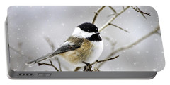 Snowy Chickadee Bird Portable Battery Charger by Christina Rollo