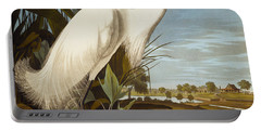 Snowy Heron Or White Egret Portable Battery Charger by John James Audubon