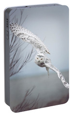 Snowy Owl In Flight Portable Battery Charger by Carrie Ann Grippo-Pike