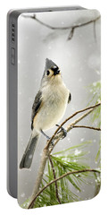 Snowy Songbird Portable Battery Charger by Christina Rollo