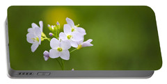 Soft White Cuckoo Flowers Portable Battery Charger by Christina Rollo