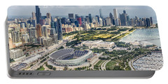 Soldier Field And Chicago Skyline Portable Battery Charger by Adam Romanowicz