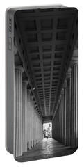 Soldier Field Colonnade Chicago B W B W Portable Battery Charger by Steve Gadomski
