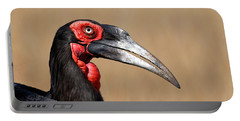 Southern Ground Hornbill Portrait Side View Portable Battery Charger by Johan Swanepoel