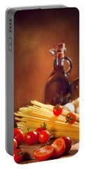 Spaghetti Pasta With Tomatoes And Garlic Portable Battery Charger by Amanda Elwell