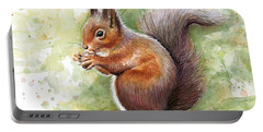 Squirrel Watercolor Art Portable Battery Charger by Olga Shvartsur