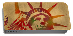 Statue Of Liberty Watercolor Portrait No 2 Portable Battery Charger by Design Turnpike