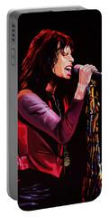 Steven Tyler In Aerosmith Portable Battery Charger by Paul Meijering
